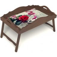 Столик для завтрака в постель «Русская берёза», «Дарю свое сердце» с фигурным бортиком цвет орех