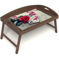 Столик для завтрака в постель «Русская берёза», «Дарю свое сердце» с 3-мя высокими бортиками цвет орех