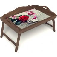 Столик для завтрака в постель «Русская берёза», «Дарю свое сердце» с 3-мя фигурными бортиками цвет орех