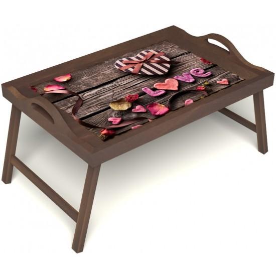 Столик для завтрака в постель «Дела сердечные» с ручками цвет орех