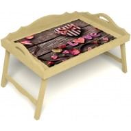 Столик для завтрака в постель «Русская берёза», «Дела сердечные» с 3-мя фигурными бортиками цвет светлый
