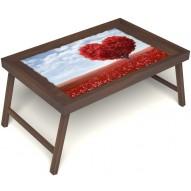 Столик для завтрака в постель «Русская берёза», «Дерево любви» без ручек цвет орех