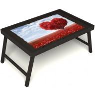 Столик для завтрака в постель «Русская берёза», «Дерево любви» без ручек цвет венге