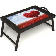 Столик для завтрака в постель «Дерево любви» с ручками цвет венге