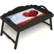 Столик для завтрака в постель «Русская берёза», «Дерево любви» с фигурным бортиком цвет венге