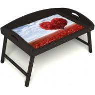 Столик для завтрака в постель «Русская берёза», «Дерево любви» с 3-мя высокими бортиками цвет венге