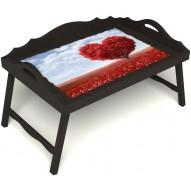 Столик для завтрака в постель «Русская берёза», «Дерево любви» с 3-мя фигурными бортиками цвет венге