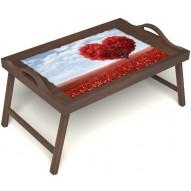 Столик для завтрака в постель «Дерево любви» с ручками цвет орех