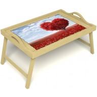 Столик для завтрака в постель «Русская берёза», «Дерево любви» с ручками цвет светлый