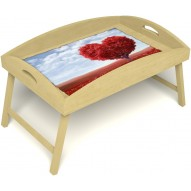 Столик для завтрака в постель «Русская берёза», «Дерево любви» с высоким бортиком цвет светлый