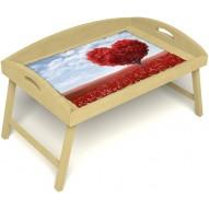 Столик для завтрака в постель «Русская берёза», «Дерево любви» с 3-мя высокими бортиками цвет светлый