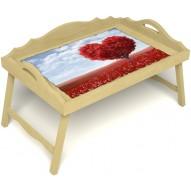 Столик для завтрака в постель «Русская берёза», «Дерево любви» с 3-мя фигурными бортиками цвет светлый