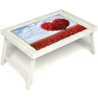 Столик для завтрака в постель «Русская берёза», «Дерево любви» без ручек цвет белый