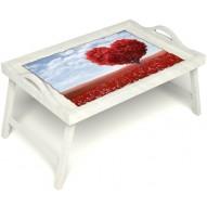 Столик для завтрака в постель «Дерево любви» с ручками цвет белый