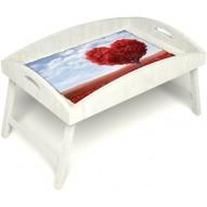 Столик для завтрака в постель «Русская берёза», «Дерево любви» с высоким бортиком цвет белый