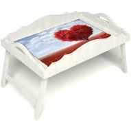 Столик для завтрака в постель «Русская берёза», «Дерево любви» с фигурным бортиком цвет белый