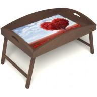 Столик для завтрака в постель «Дерево любви» с высоким бортиком цвет орех