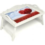 Столик для завтрака в постель «Русская берёза», «Дерево любви» с 3-мя фигурными бортиками цвет белый