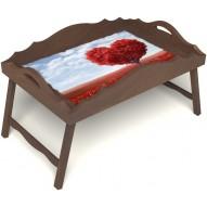 Столик для завтрака в постель «Русская берёза», «Дерево любви» с фигурным бортиком цвет орех