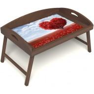 Столик для завтрака в постель «Русская берёза», «Дерево любви» с 3-мя высокими бортиками цвет орех