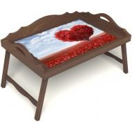 Столик для завтрака в постель «Русская берёза», «Дерево любви» с 3-мя фигурными бортиками цвет орех