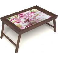 Столик для завтрака в постель «Love» без ручек цвет орех