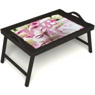 Столик для завтрака в постель «Love» с ручками цвет венге