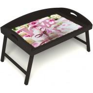 Столик для завтрака в постель «Русская берёза», «Love» с 3-мя высокими бортиками цвет венге