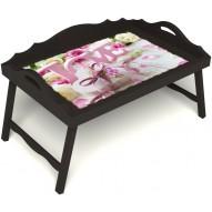 Столик для завтрака в постель «Русская берёза», «Love» с 3-мя фигурными бортиками цвет венге