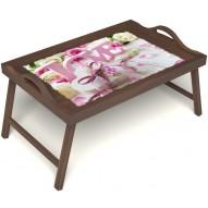 Столик для завтрака в постель «Love» с ручками цвет орех