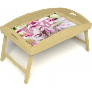 Столик для завтрака в постель «Русская берёза», «Love» с высоким бортиком цвет светлый