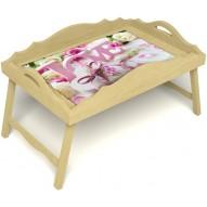 Столик для завтрака в постель «Русская берёза», «Love» с фигурным бортиком цвет светлый