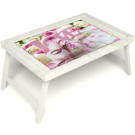 Столик для завтрака в постель «Love» без ручек цвет белый