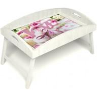 Столик для завтрака в постель «Русская берёза», «Love» с высоким бортиком цвет белый
