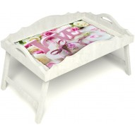Столик для завтрака в постель «Русская берёза», «Love» с фигурным бортиком цвет белый