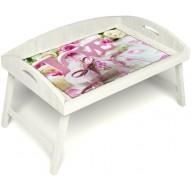 Столик для завтрака в постель «Русская берёза», «Love» с 3-мя высокими бортиками цвет белый