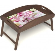 Столик для завтрака в постель «Русская берёза», «Love» с высоким бортиком цвет орех