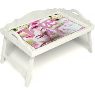 Столик для завтрака в постель «Русская берёза», «Love» с 3-мя фигурными бортиками цвет белый