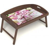 Столик для завтрака в постель «Love» с 3-мя высокими бортиками цвет орех