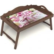 Столик для завтрака в постель «Русская берёза», «Love» с 3-мя фигурными бортиками цвет орех