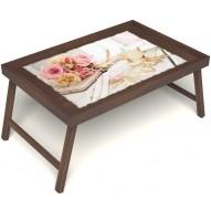 Столик для завтрака в постель «Аромат любви» без ручек цвет орех