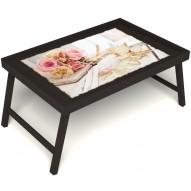 Столик для завтрака в постель «Аромат любви» без ручек цвет венге