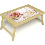 Столик для завтрака в постель «Аромат любви» без ручек цвет светлый