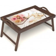 Столик для завтрака в постель «Русская берёза», «Аромат любви» с ручками цвет орех