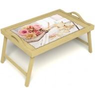 Столик для завтрака в постель «Аромат любви» с ручками цвет светлый