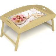 Столик для завтрака в постель «Аромат любви» с высоким бортиком цвет светлый