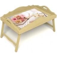 Столик для завтрака в постель «Аромат любви» с фигурным бортиком цвет светлый