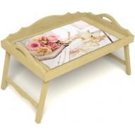 Столик для завтрака в постель «Аромат любви» с 3-мя фигурными бортиками цвет светлый