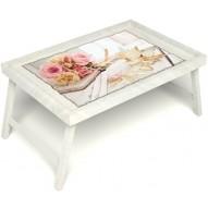 Столик для завтрака в постель «Аромат любви» без ручек цвет белый