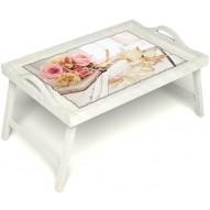 Столик для завтрака в постель «Аромат любви» с ручками цвет белый